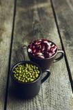 绿色绿豆和红色有斑点的扁豆 图库摄影