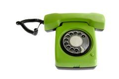 绿色老电话 免版税图库摄影