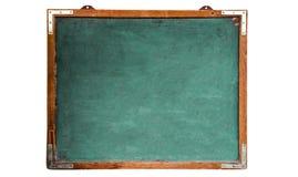 绿色老脏的葡萄酒木空的黑板或减速火箭的黑板有被风化的框架的和隔绝在无缝的白色backgroun 免版税库存照片