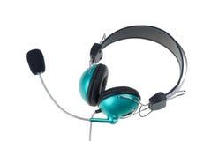 绿色耳机 库存图片