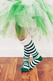 绿色节假日芭蕾舞短裙白色 免版税库存照片