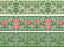 绿色花卉无缝的边界收藏 免版税图库摄影