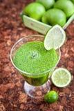 绿色苹果和菠菜圆滑的人 图库摄影