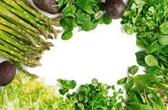 绿色草本、芦笋和黑鲕梨在白色背景 顶视图 免版税库存照片