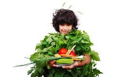绿色菜女孩 库存图片
