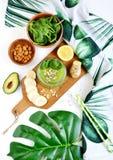 绿色菠菜圆滑的人用水果、蔬菜和种子,健康食物概念 库存照片