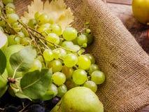绿色葡萄和梨在织品背景 新鲜,水多的葡萄和梨 果汁成份 免版税库存照片