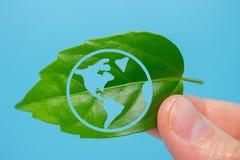 绿色行星在您的心脏手上 免版税库存图片