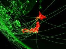 绿色行星地球上的日本从与网络的空间 国际通信、技术和旅行的概念 3d 向量例证