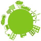 绿色行星简单的徽标 免版税库存照片