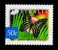 绿色被察觉的三角Graphium agamemnon ligatum,澳大利亚-雨林serie的本质,大约2003年 免版税库存照片
