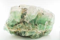 绿色被隔绝的宝石自然矿物氟化物或绿色绿玉 免版税库存照片