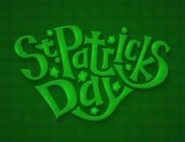 绿色贺卡为圣Patricks天,字法手凹道 图库摄影