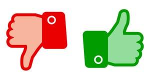 绿色赞许和红色下来拇指-传染媒介 免版税库存照片