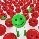 绿色跳的面带笑容 免版税库存图片