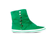 绿色运动鞋 免版税库存图片