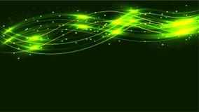 绿色透明抽象发光的不可思议的宇宙不可思议的能量标示,发出光线用聚焦,并且小点和光发光与波浪  向量例证