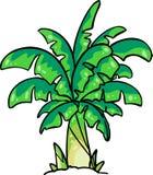 绿色逗人喜爱的香蕉树动画片 免版税库存图片