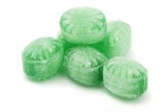 绿色造币厂的糖果 库存图片