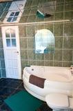 绿色铺磁砖了有镜子天花板的卫生间 免版税库存照片