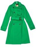 绿色雨衣s妇女 库存照片