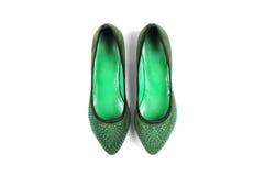 绿色鞋子 免版税库存照片