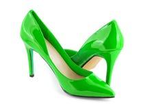 绿色鞋子 免版税库存图片