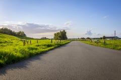 绿色领域之间的道路 免版税库存照片
