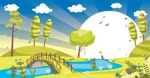 绿色风景的传染媒介例证 免版税库存照片