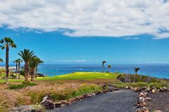 绿色高尔夫球领域有美丽的景色向海 免版税库存照片