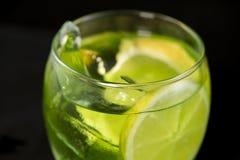 绿色鸡尾酒用杜松子酒、带苦味柠檬、蓬蒿和柠檬 免版税库存照片