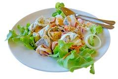 绿色黄油莴苣菜和混合水果沙拉奶油,有选择性的焦点 免版税图库摄影
