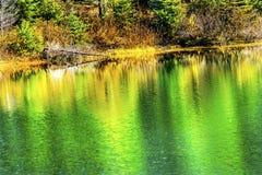 绿色黄色秋天反射颜色Gold湖Snoqualme通行证W 库存图片