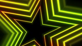 绿色黄色霓虹发光的星录影动画 库存例证
