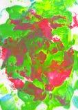 绿色,桃红色,红色和蓝色抽象手画背景 免版税图库摄影