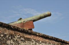 绿色18世纪的大炮 库存图片