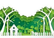 绿色eco友好环境概念文件艺术样式 免版税库存图片