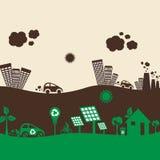 绿色eco城市和被污染的城市 免版税库存图片