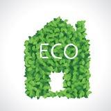 绿色eco房子图标由叶子制成 图库摄影