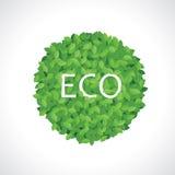 绿色eco球图标由叶子制成 免版税库存照片