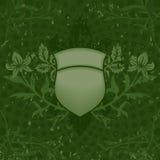 绿色grunge盾 免版税库存照片