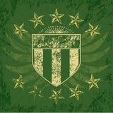 绿色grunge盾 库存照片