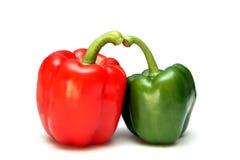 绿色paprica红色 免版税库存图片