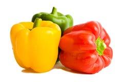 绿色paprica胡椒红色甜黄色 库存照片