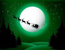 绿色s圣诞老人雪橇向量版本 库存图片