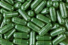 绿色Spirulina粉末,在清楚的胶囊的蓝藻 库存照片