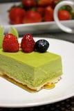 绿茶乳酪蛋糕 库存图片