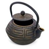 绿茶的茶壶与一个开放盒盖 免版税库存图片