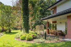 绿草和树在庭院家具旁边 库存照片
