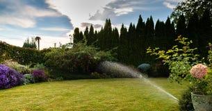 绿草的灌溉与洒水装置的 库存照片